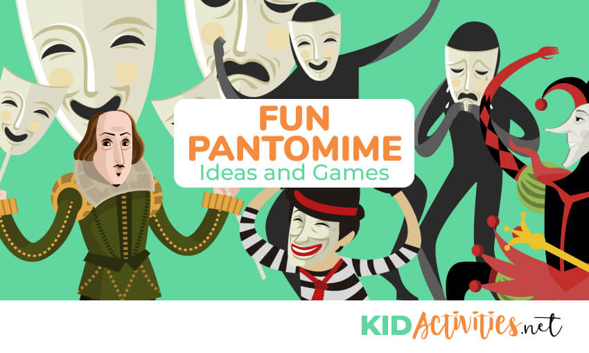An animated picture of pantomime actors and masks.Text reads fun pantomime ideas and games.