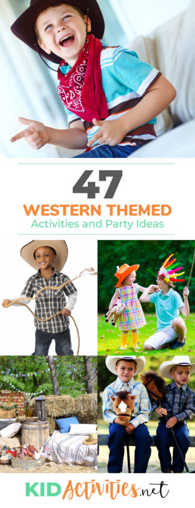 Several pictures of kids acting out and dressing like cowboys and Indians. The text reads western themed activities and games for kids. Great for a western themed day in the classroom. These fun activities will provide opportunities to learn about American heritage.
