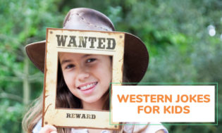 "A picture of a young girl wearing a cowboy hat looking through a frame that reads Wanted, Reward"". Text reads western jokes for kids."