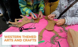 A collection of western themed arts and crafts ideas for kids. Great for a classroom theme day of the western setting.