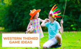 A picture of a boy wearing a feather hat depicting an Indian and a young girl with a cowboy hat. Text reads western themed game ideas.