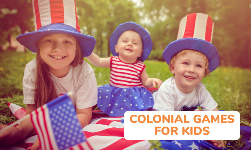Three kids on a picnic blanket wearing USA themed attire including large red, white, and blue top hats. Text reads colonial games for kids.