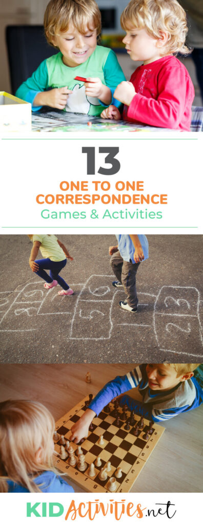 A collection of one to one correspondence games and activities for kids. Great ideas for teaching kids numbers and learning how to count.