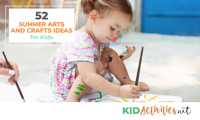 A collection of summer arts and craft ideas for kids.