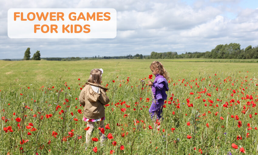 A collection of flower themed game ideas for kids.