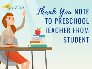 thank you note to preschool teacher from parent