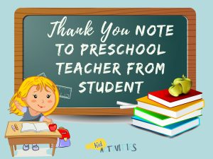 thank you note to preschool teacher from student