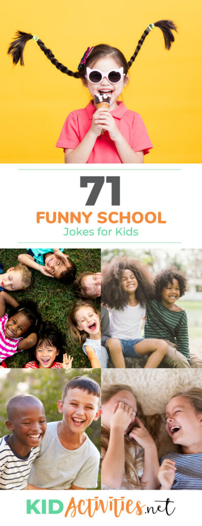 A Pinterest image with 5 different images of kids laughing and having fun. Text reads 71 funny school jokes for kids.