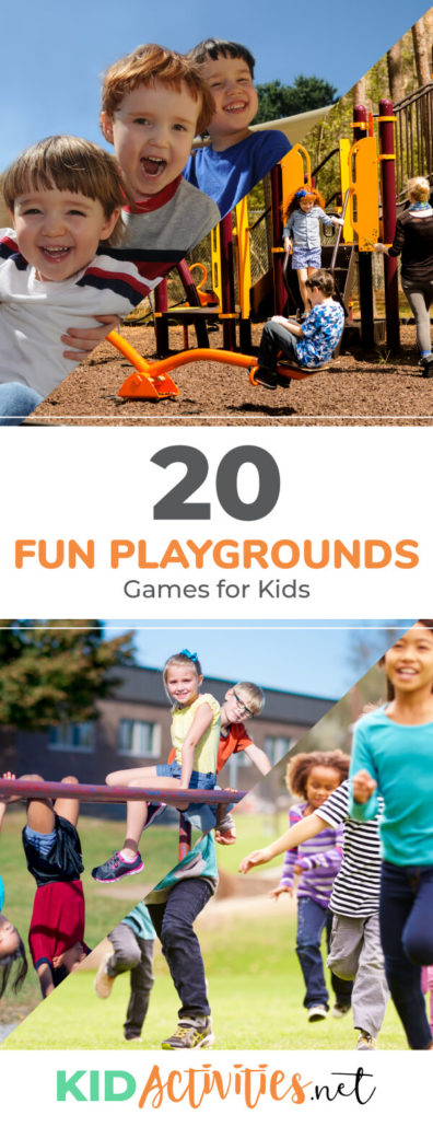 A collection of 20 fun playground games for kids. Use this playground games list for ideas and inspiration for the kids to stay entertained during recess or other outdoor events.