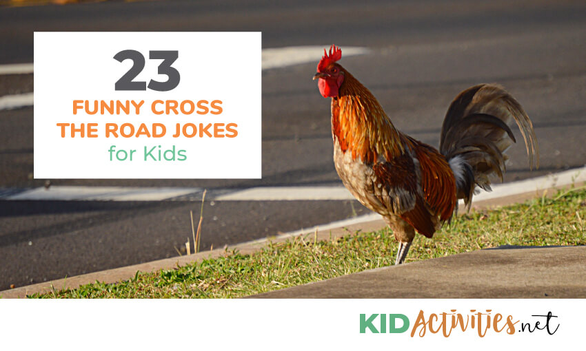 An image of a chicken standing by the side of a road. Text reads 23 funny cross the road jokes for kids.