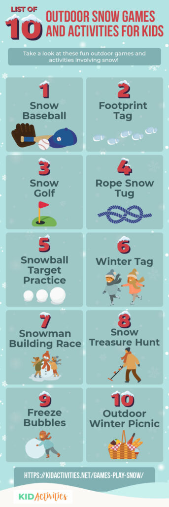 A collection of 10 fun outdoor snow games for kids.