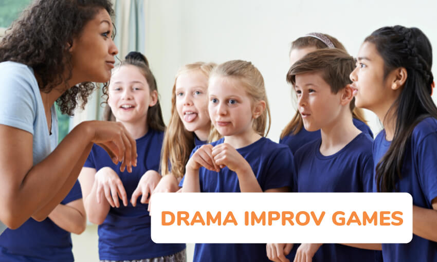 An image of a teacher in front of 6 students wearing dark shirts. She appears to be teaching them how to act like a kangaroo. Text reads drama improv games.
