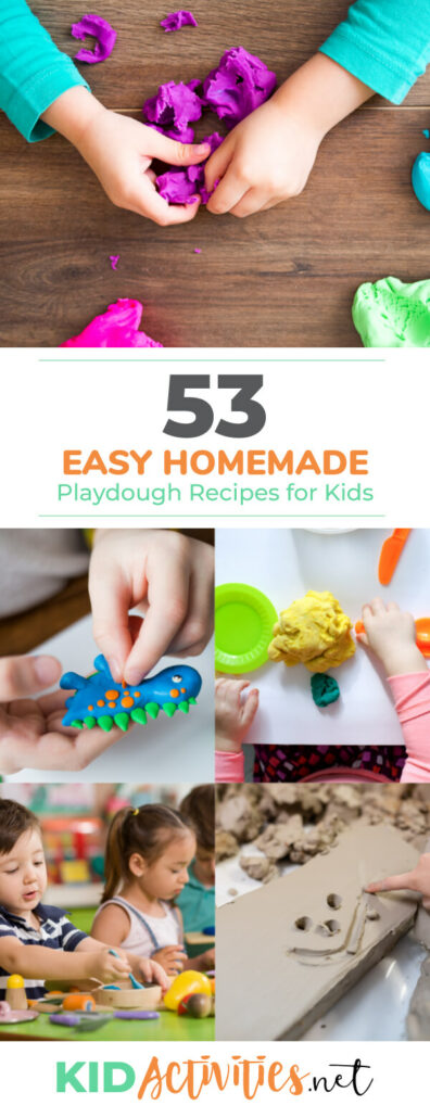 A collection of 53 easy homemade play dough recipes for kids. These are great for the classroom or at home. Hours of fun making and building.
