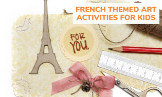 A picture of craft materials such as ribbons, rulers, pencils, scissors and an Eiffel Tower cutout. Text reads french themed art activity ideas for kids.