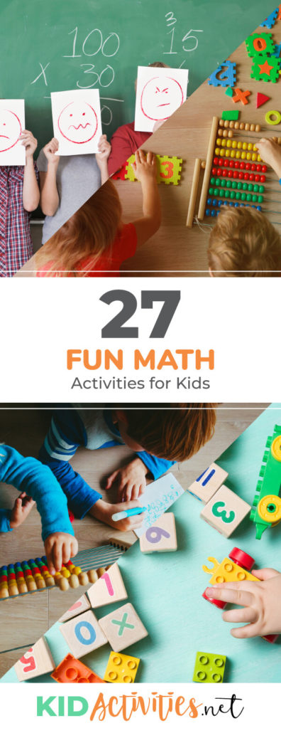 A collection of fun math activities for preschool and elementary students. These fun games and activities will help develop the kids math skill while having fun.