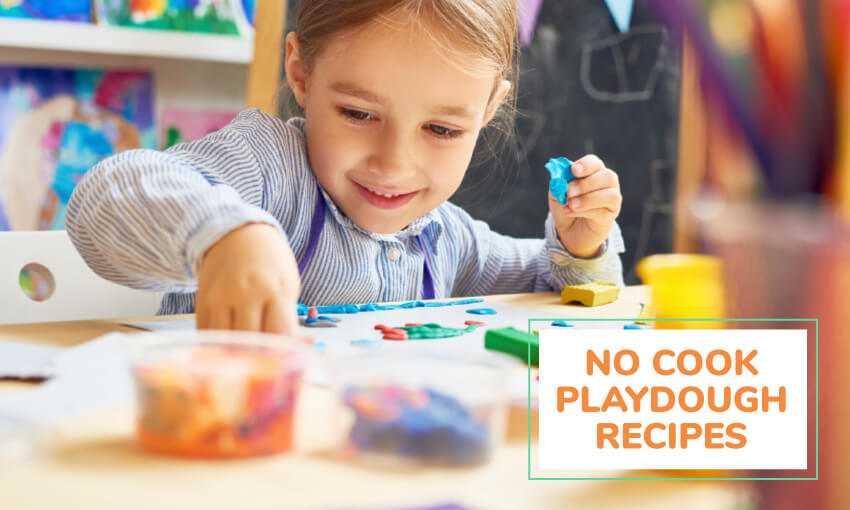 A collection of no cook play dough recipes for kids.
