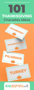 A collection of Thanksgiving charades ideas for the holiday season. Charades is a great game for the classroom, family night, or a Thanksgiving party. Lots of fun and laughter are sure to take place.
