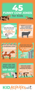 A collection of 45 cow jokes for kids. These are school appropriate and are great for telling at the lunch table, in the classroom, or even on <a href=