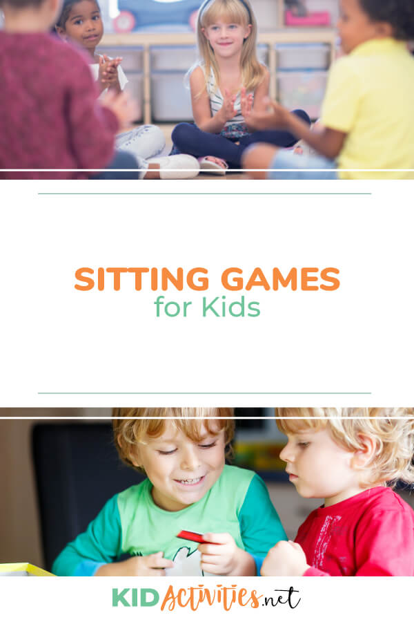 Two pictures one of kids sitting in a circle playing a game and another image of two kids interacting playing a game sitting down. Text reads sitting games for kids.