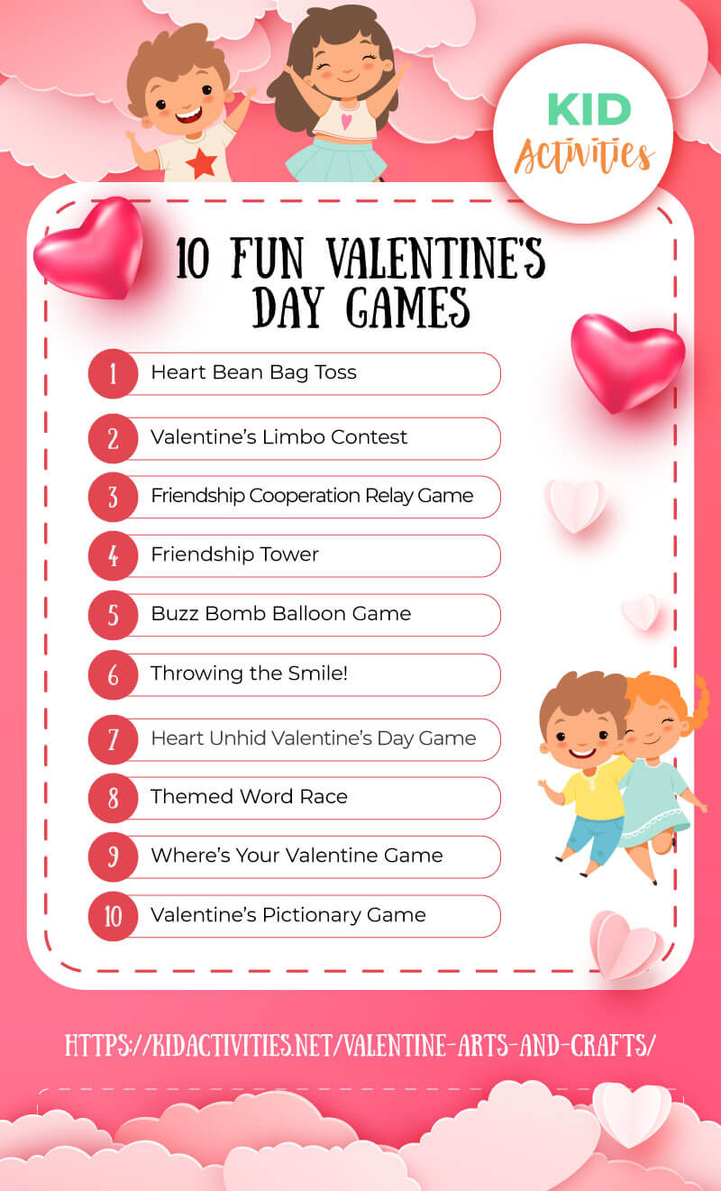 A list of 10 valentines day games great for the classroom.