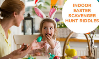 A collection of indoor Easter scavenger hunt riddles for kids.