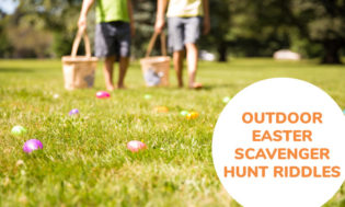 A collection of outdoor Easter scavenger hunt riddles for kids.