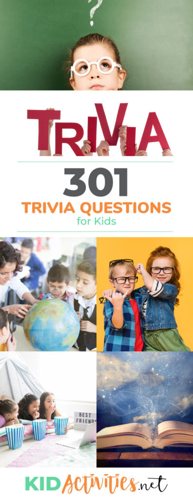 A collection of fun trivia questions for kids including: geography trivia, bible trivia, Christmas trivia, celebrity trivia, and much more.