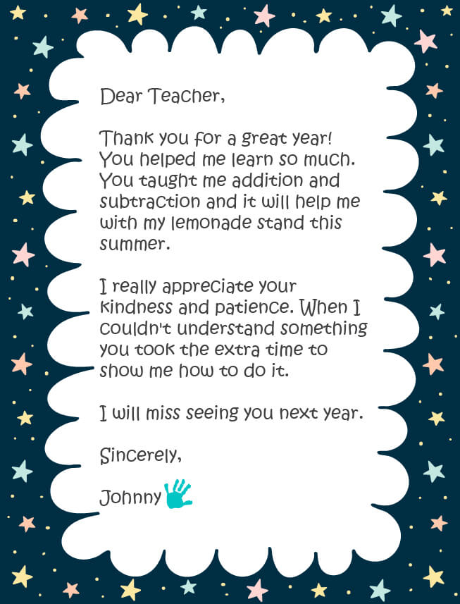 An example of a thank you note to a preschool teacher