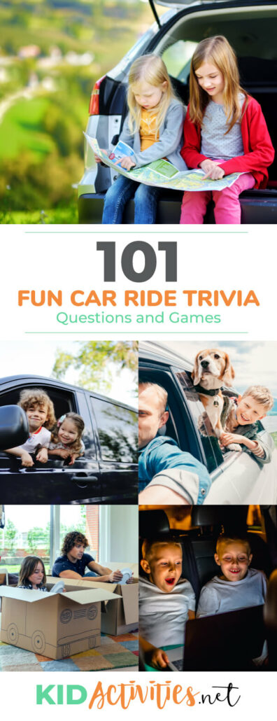 A collection of fun car ride trivia questions and games for kids. Great for passing the time and having fun on your vacation trip.