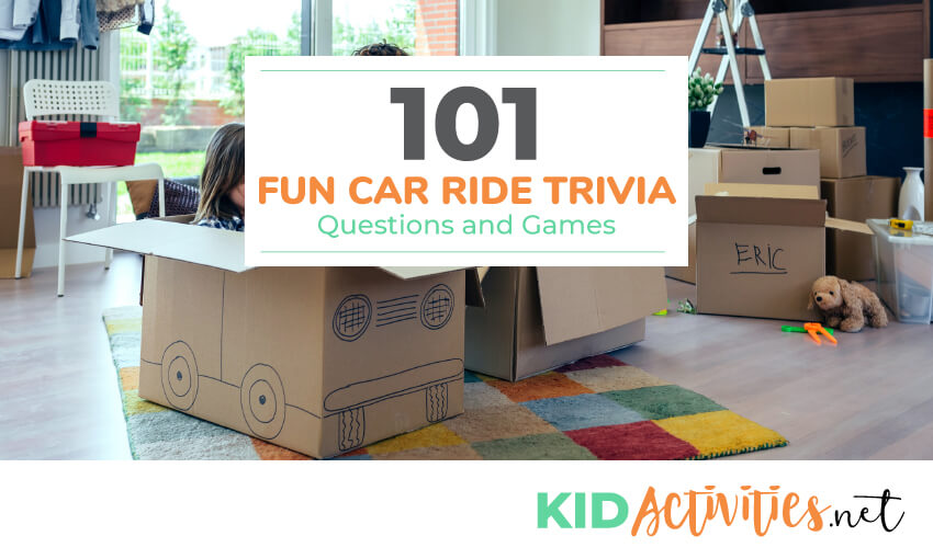 A collection of car ride trivia questions and games for kids.