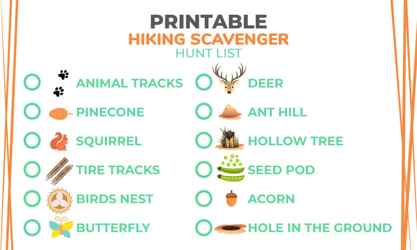 A printable hiking scavenger hunt list. Great for keeping kids entertained and engaged when hiking on the trails.