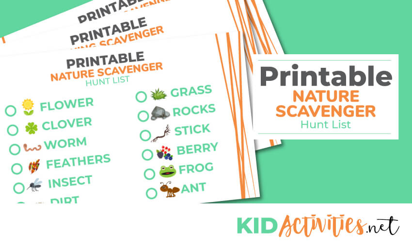 A collection of printable nature scavenger hunts lists. Great for hiking and camping with kids. Keep kids entertained and engaged outdoors.