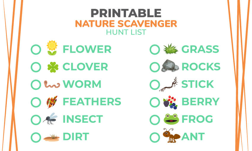 A printable nature scavenger hunt list. Great for the kids when they are outdoors and creating adventure and engagement.