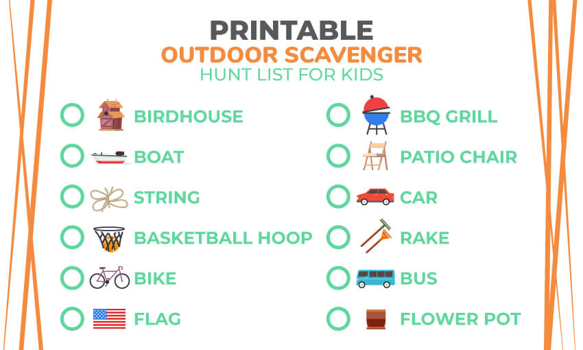 A printable outdoor scavenger hunt list for kids. Great for keeping the kids engaged while camping and hiking.