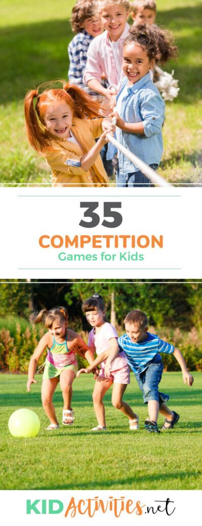 孩子们的竞赛亲子游戏的集合。这些有趣的室内和室外比赛亲子游戏的孩子。