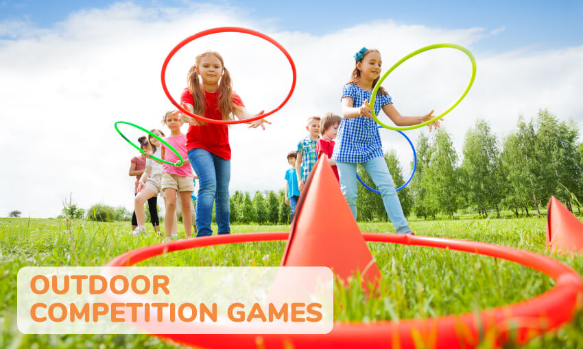 A collection of fun outdoor competition games for kids.