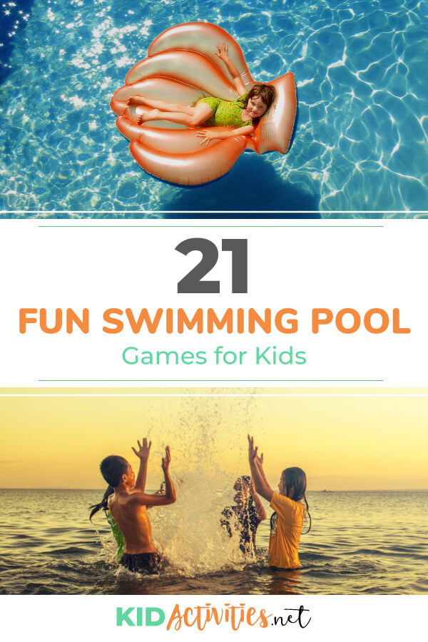 A collection of 21 fun swimming pool games for kids.