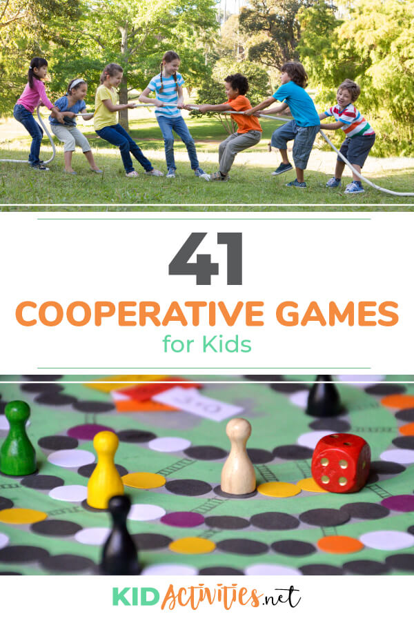 A collection of 41 cooperative games for kids. These games are great at building the skill of team work and cooperation.