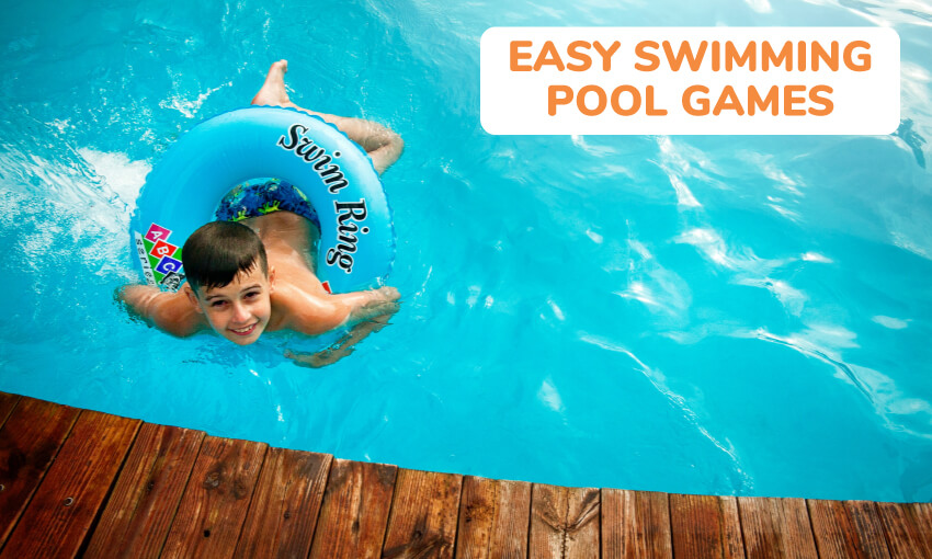 A collection of easy swimming pool games for kids.