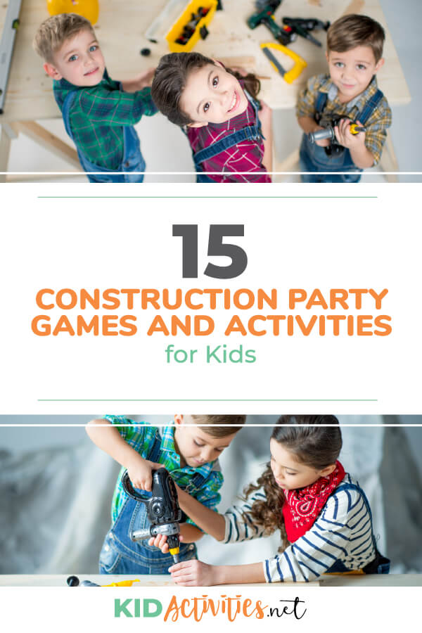 A collection of the best construction party games and activities for kids. Great for a kids construction themed birthday.