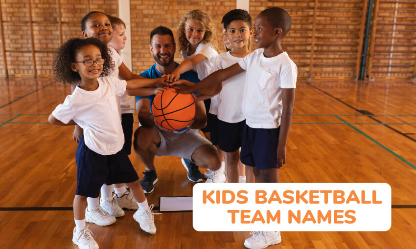 A collection of kids basketball team names.
