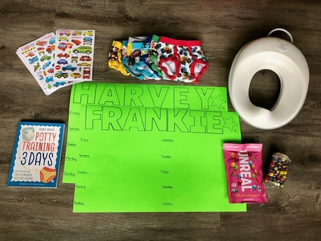 A collection of potty training resources including rewards, potty training seat, potty training book, and potty training underwear.