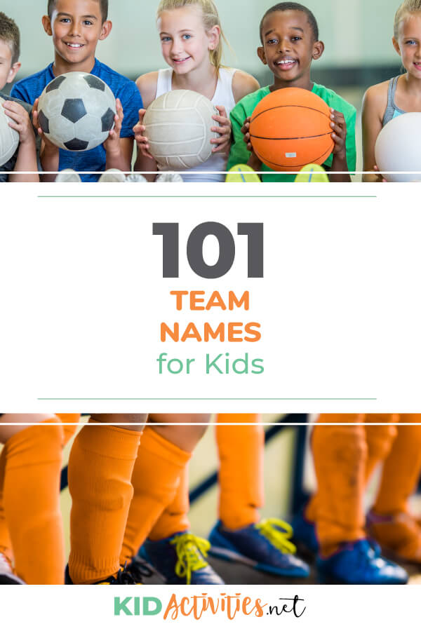 A collection of 101 team names for kids. These include soccer team names, volleyball team names, basketball team names, and many more. Perhaps you're looking for some funny team names? We have those too!