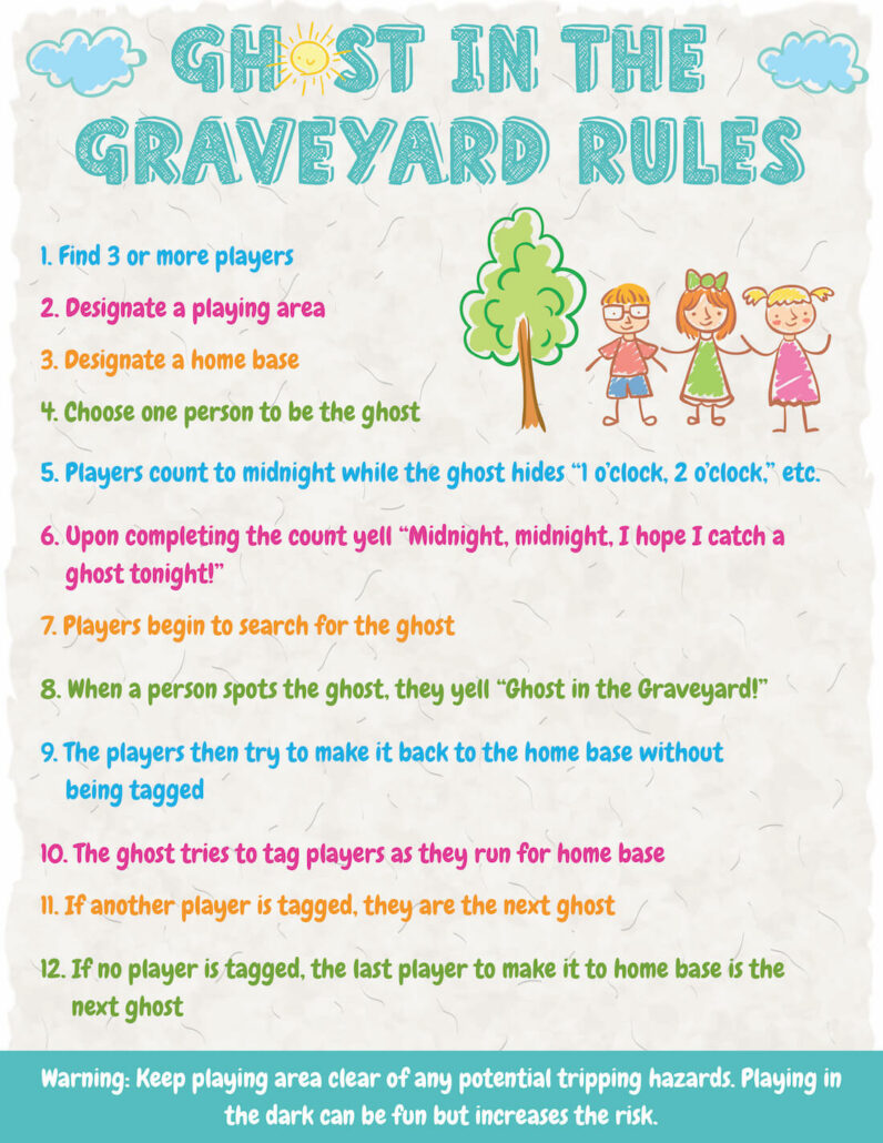 A ghost in the graveyard rules poster.