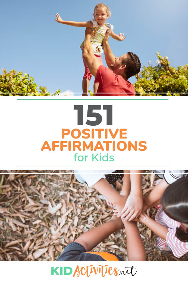 A collection of positive affirmations for kids. These are great for building a child's self-esteem and helping them through challenging times throughout their day like that big test.