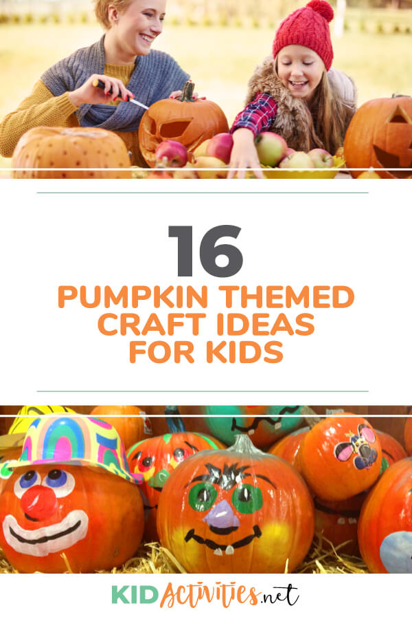 A collection of pumpkin themed craft ideas for kids.