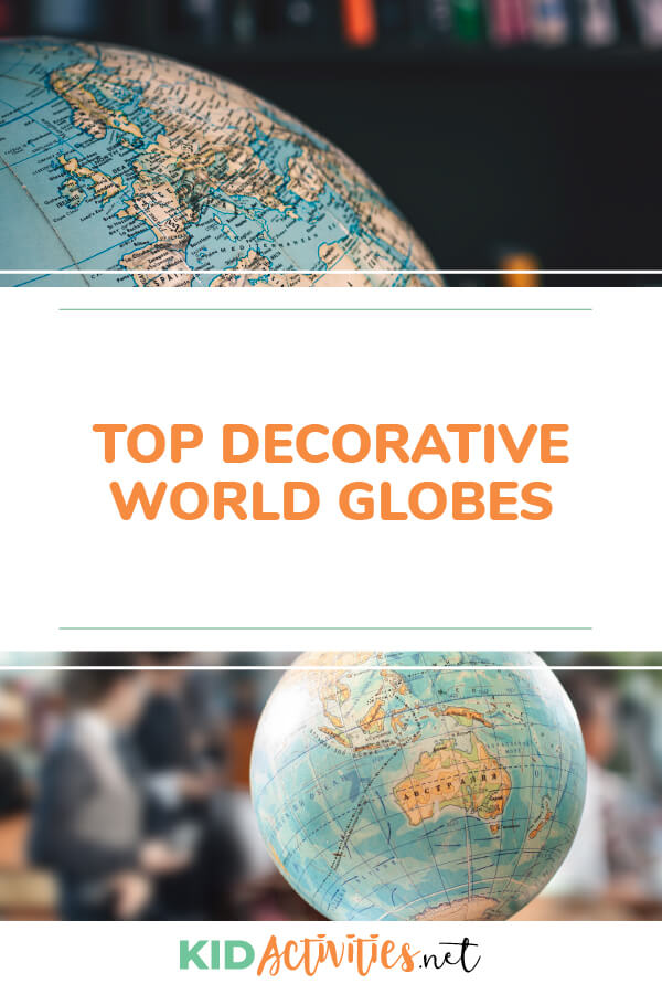 A collection of decorative world globes.