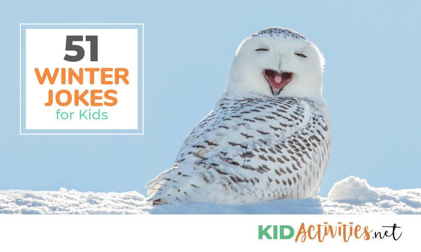 A collection of 51 winter jokes for kids.