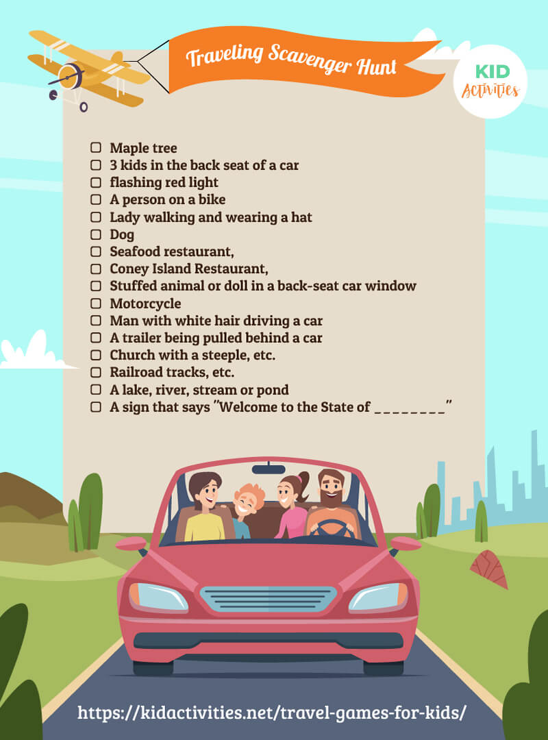A road trip scavenger hunt list.