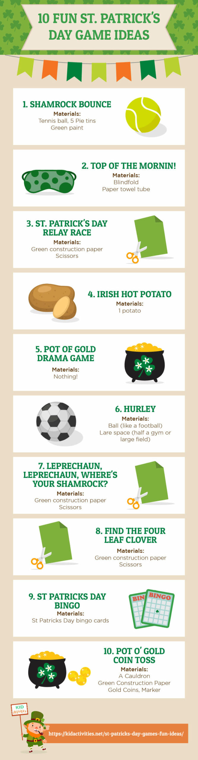 An infographic containing 10 St Patrick's Day game ideas.